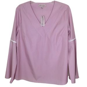 Philosophy Pink and White Striped Bell Sleeve LG.